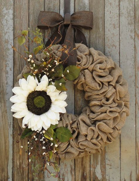 Hey, I found this really awesome Etsy listing at https://www.etsy.com/listing/243125462/ivory-sunflower-burlap-wreath-fall