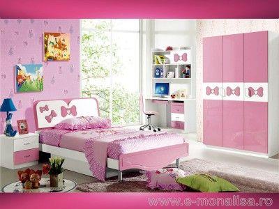 Mobila Dormitor Fete Almera pe Alb - Roz Lucios produs din MDF