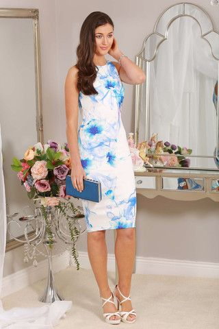 midi dress, white, blue water print, bodycon, occasion wear, races, wedding guest