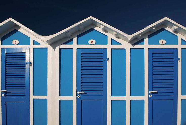 CABINES DE PLAGE - Papier peint cabines bleu et blanc