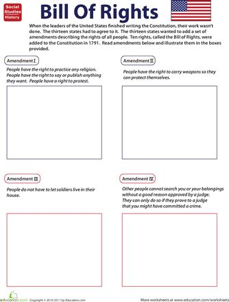 "Worksheets: Illustrate the Bill of Rights... I like the kid friendly ""translation"" of the language in these"