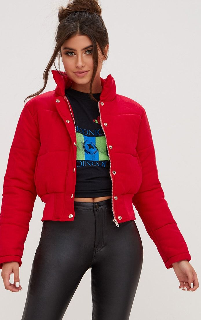 9720ccbe6 Red Peach Skin Cropped Puffer Jacket in 2019   Plt   Puffer jackets ...
