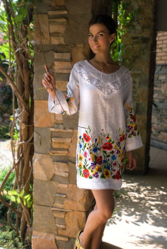 "Hand embroidered white blouse tunic ""Sunflowers & poppies"" ukrainian hand…"