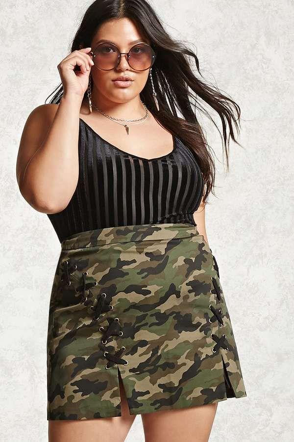 Forever 21 FOREVER 21+ Plus Size Camo Print Mini Skirt