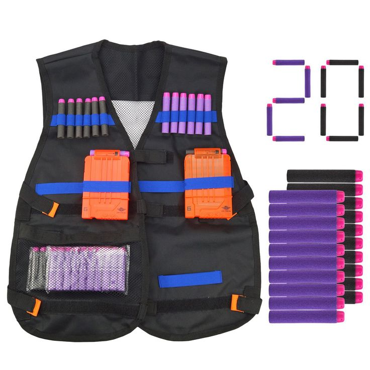 Kids Tactical Vest with 20 Pcs Foam Refill Darts for Nerf Guns N-strike Elite Series. Tactical Vest Kit lets you carry along lots of extra ammo for nerf guns fights or wars. Vest storage pockets for an extra blaster and for extra quick reload clip. Load your clips, then store up to 12 extra darts in the bullet spots. Come with 20pcs darts for nerf gun N-Strike Elite blaster, Fun color darts make you stand out. Enjoy a sturdy durable and breathable vest, total 7 adjustable velcro straps to...