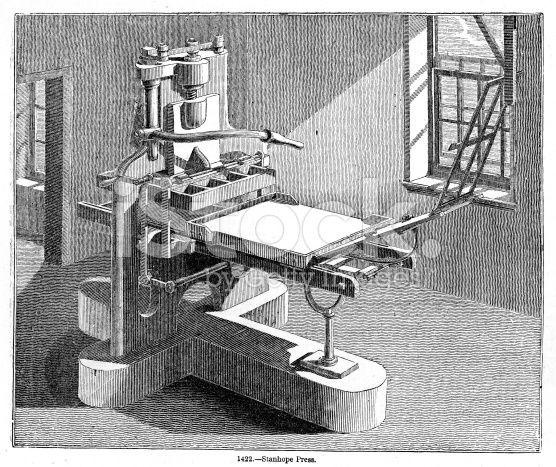 Maquina de imprenta con tadas sus partes metalica, fue inventada por Charles, tercer conde de Stanhope; con un mecanismo de tornillosmetalicos.