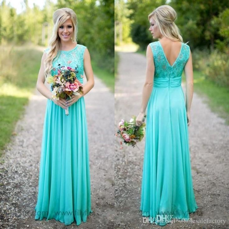 2017 Hot Turquoise Bridesmaid Dresses Cheap Scoop Neckline Chiffon Floor Length Lace V Backless Long Bridesmaid Dresses For Country Weddings Unique Bridesmaid Dresses Brides Maid Dresses From Wholesalefactory, $111.81| Dhgate.Com