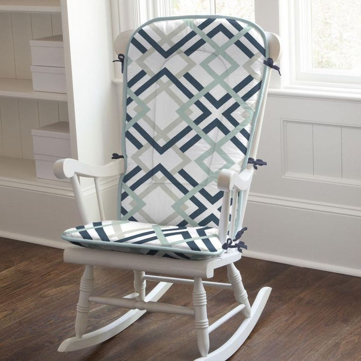 navy and gray geometric rocking chair pad made with care in the usa by carousel designs