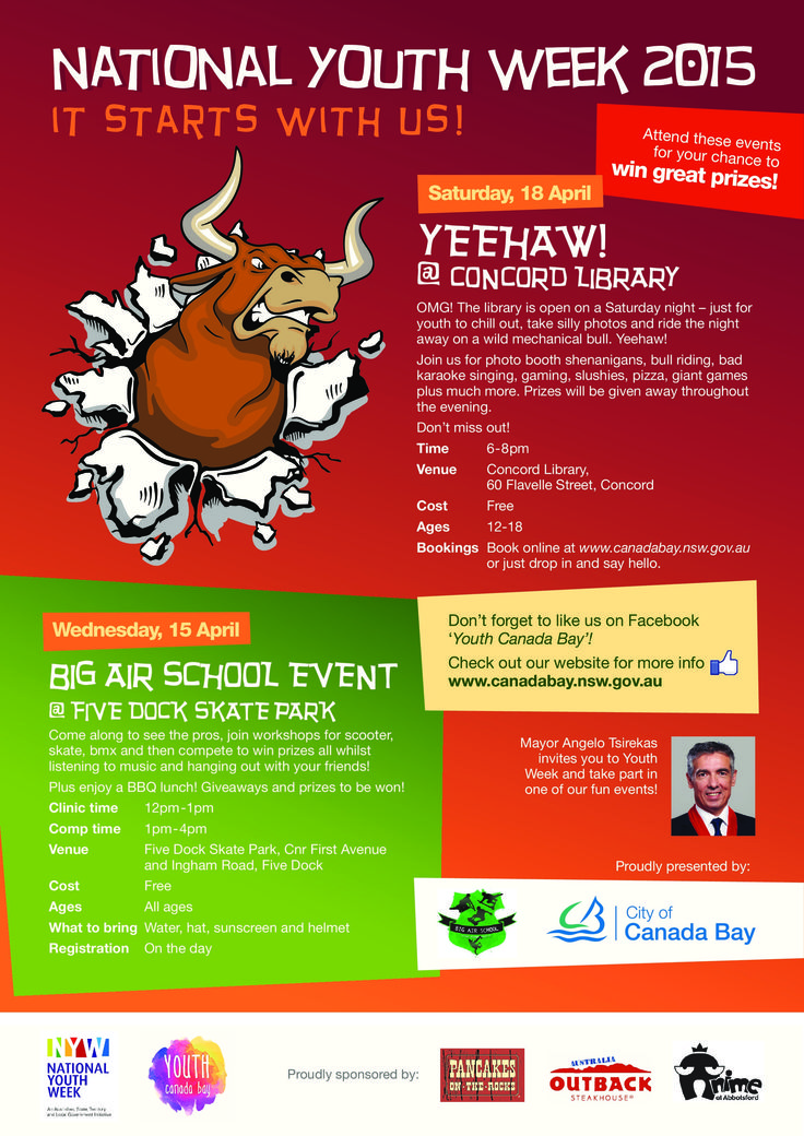 Yay! So excited about our City of Canada Bay Council Youth Week events - including our Five Dock Skate Park event and Yeehaw! Mechanical bull riding at Concord Library! Check out our website for more information at www.canadabay.nsw.gov.au