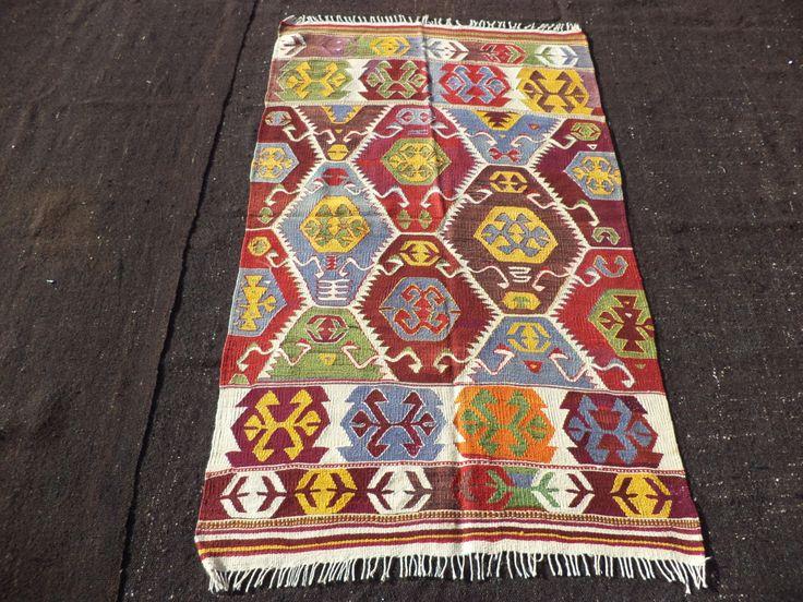 "Turkish Kilim Rug,Small Rug,3,3""x5,7"" Feet 100x170 Cm Colorful Turkish Kilim Rug,Anatolian Area Kilim Rug,Anatalya Kilim."
