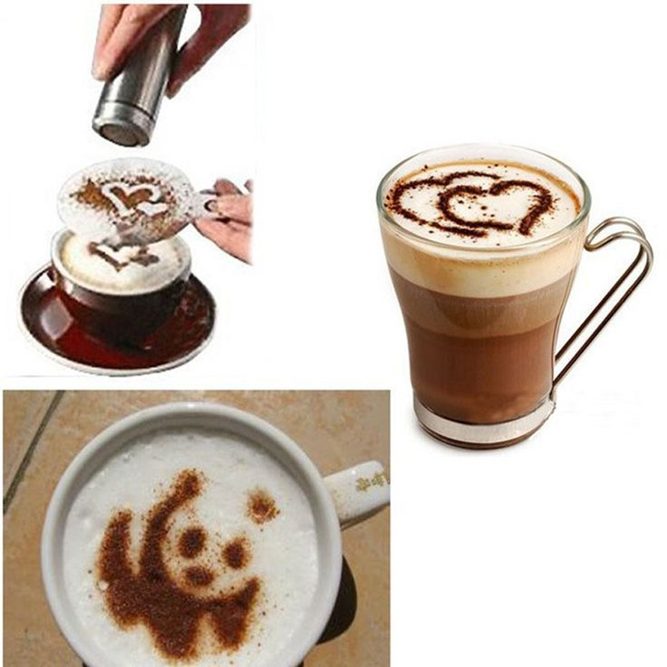16 pcs Kopi Stensil Kitchen Dining Bar Cappuccino Coffee Barista Stensil Template Menaburi Flowers Pad Duster Semprot Alat Kopi