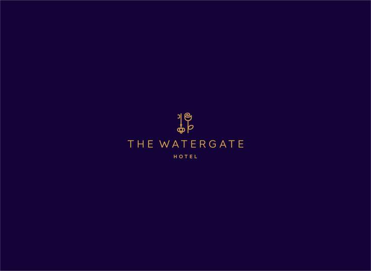 watergate, gates, water logo design, logo, flat logo, line work, luxury, hotel branding, hotel logo design, rose, key, subtle, logo, proffesional, logo designer