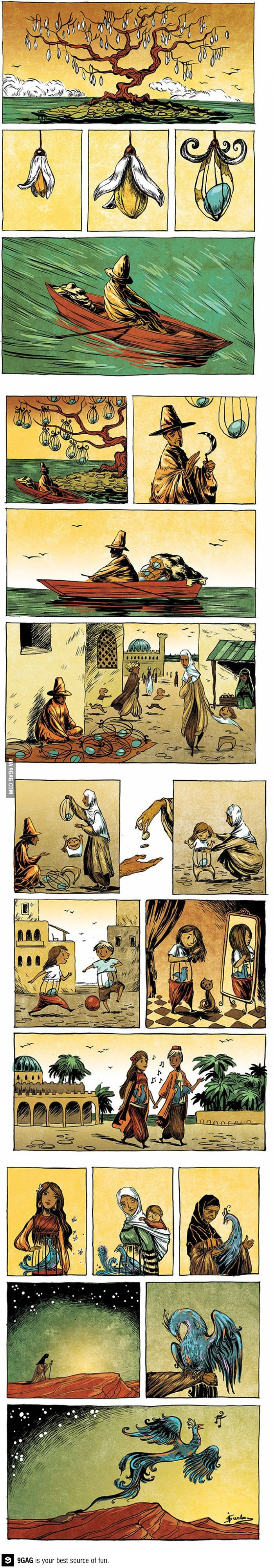 A simple life. The egg & bird represent one's soul. The story is about one's soul maturing into a full-grown bird which resembles a Phoenix. The Phoenix symbolizes rebirth. So when your body perishes, your soul leaves the body and will be reborned. It's a little philosophical and abstract..