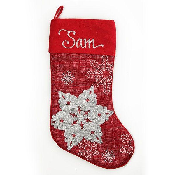 Personalised Stocking   Red Snowflake Stocking