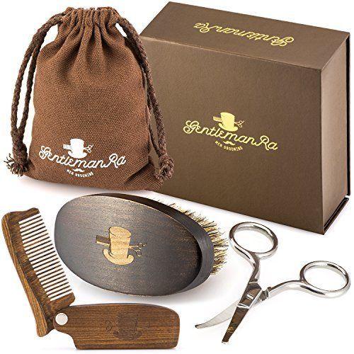 Mens Grooming Bristle Brush Kit Sandalwood Beard Comb Beard