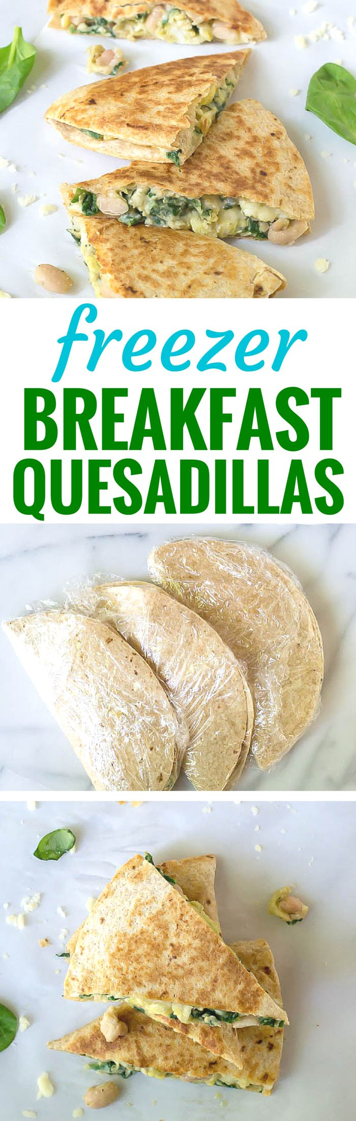 How to make and freeze breakfast quesadillas ahead so that you have a healthy breakfast on hand at all times!