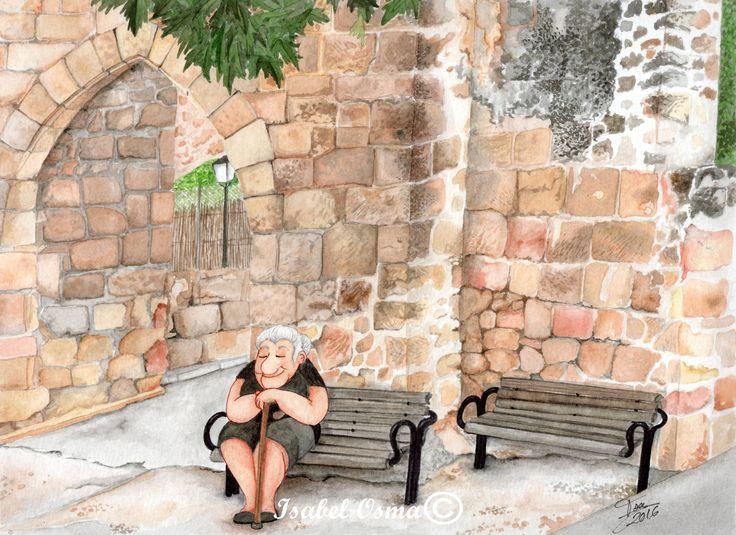 Ilustracion Isabel Osma sentada junto al arco