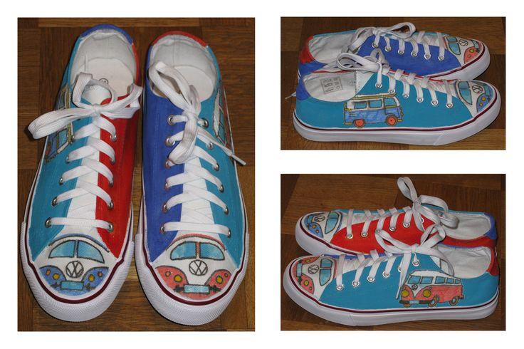 Schuhe für einen VW-Fan (Stoffmalstifte & Stoffmalfarbe)