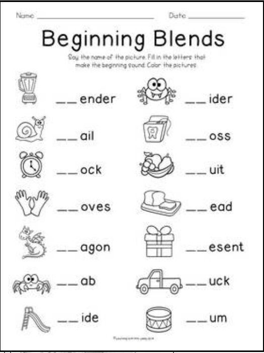 Blends freebie | KindergartenKlub.com | Pinterest