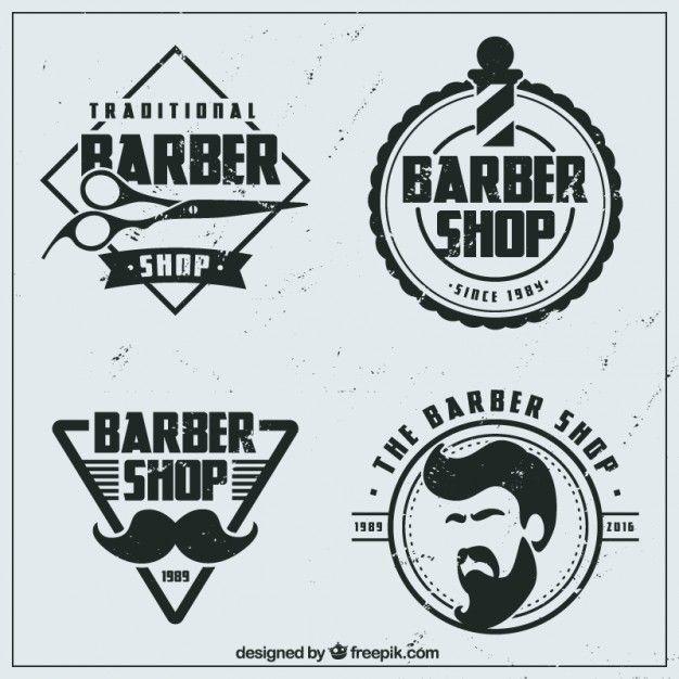 Logos de barbería planos vintage Vector Gratis