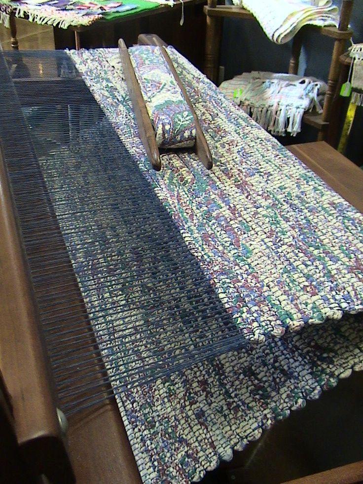 Handwoven rag rug from bed sheets.