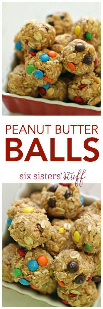 Peanut Butter Balls from SixSistersStuff.com | These 4 ingredient, no bake, oatmeal peanut butter bites are a definite kid-approved snack! Check out our YouTube channel to see our kids make this fun treat!
