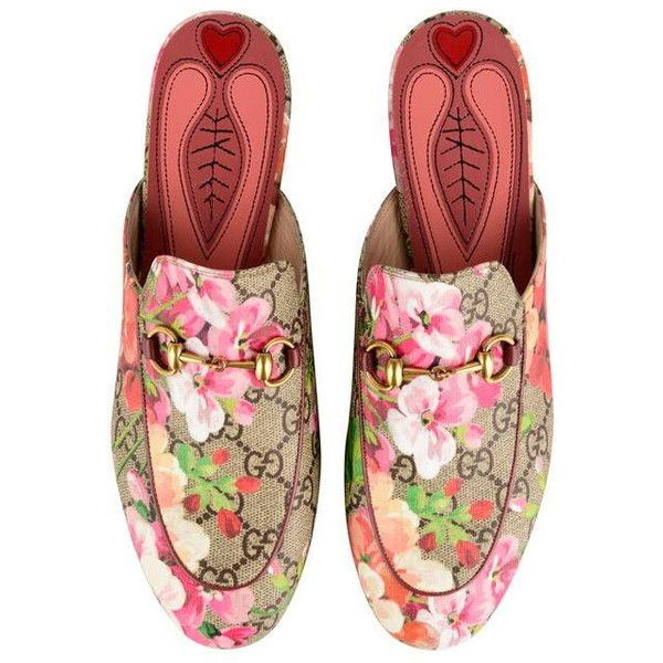 Leather slip on shoes, Gucci floral