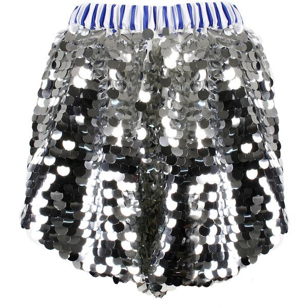 Anouki Sparkly Sequin Shorts ($465) ❤ liked on Polyvore featuring shorts, silver, sequined shorts, sparkly shorts, silver shorts, stripe shorts and striped shorts