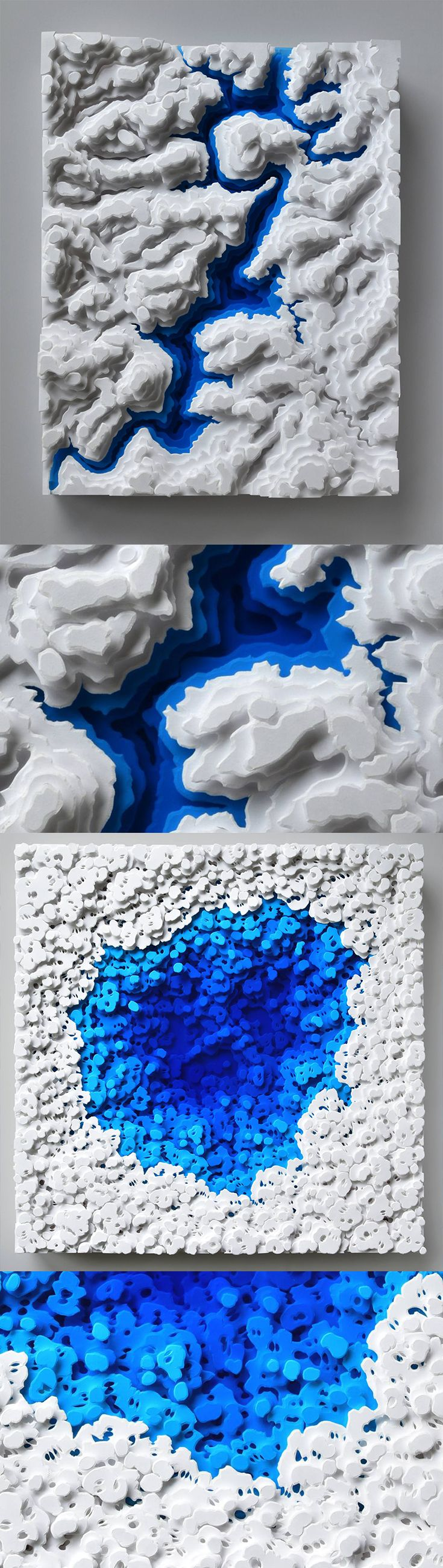 Click for more pics! | Topographic Water Patterns by Olga Skorokhod #paperart #papercut