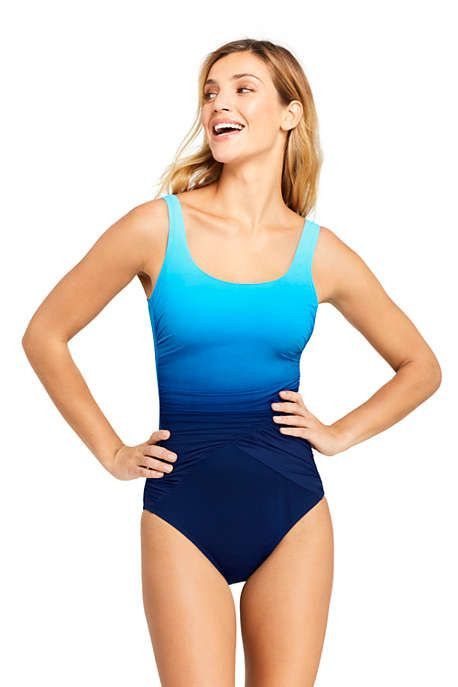 196f9b28c6cd2 Women's Slender Draped Square Neck One Piece Swimsuit with Tummy Control  Print