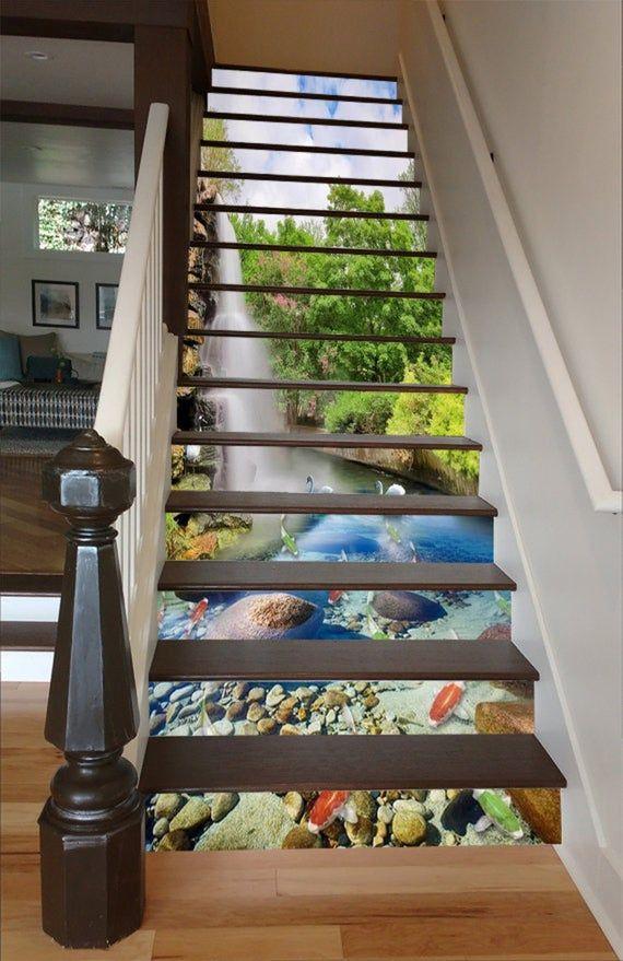3D Waterfall Lake 3 Stair Risers Decoration Photo Mural Vinyl Decal Wallpaper UK