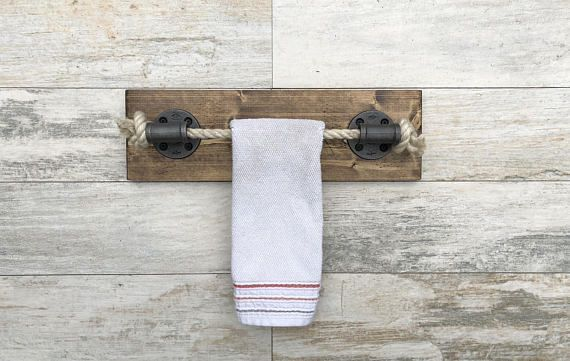 Dark Walnut Rope Towel Holder Nautical Design Towel Bar Towel