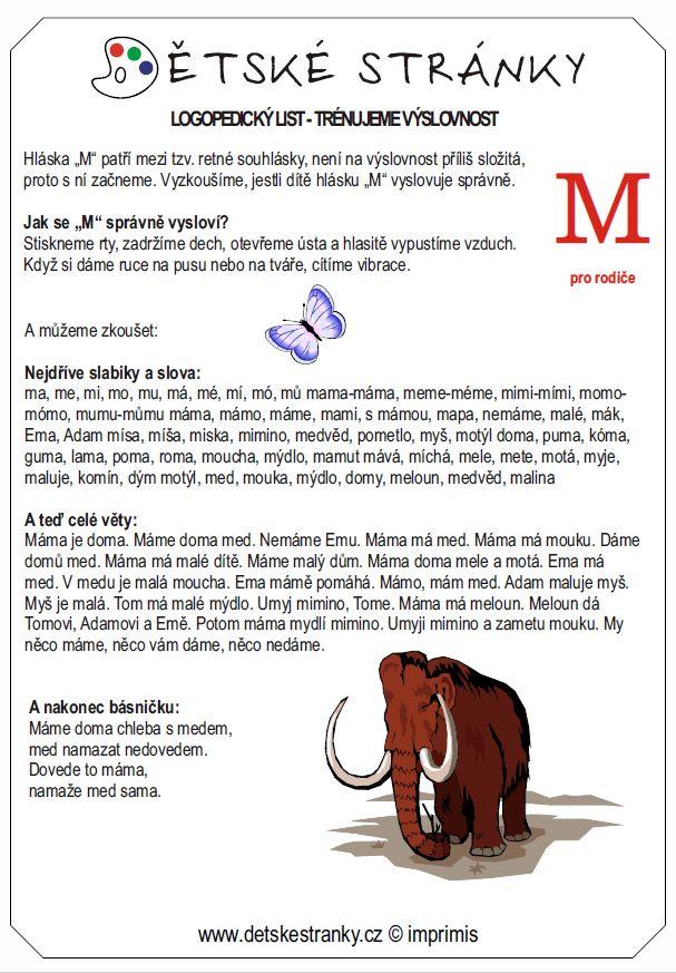 logopedický list M