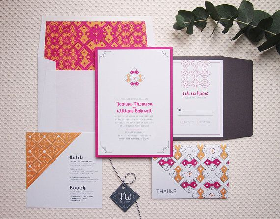 Lucia Wedding Invitation Suite, Floral & Elegant - invitation, envelope liner, reply card, info insert, thank you note by Jennifer's Paper