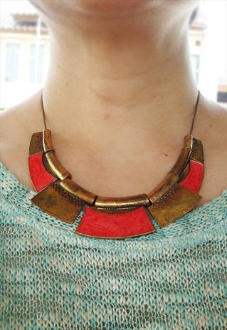 gold & red contemporary ethnic necklace