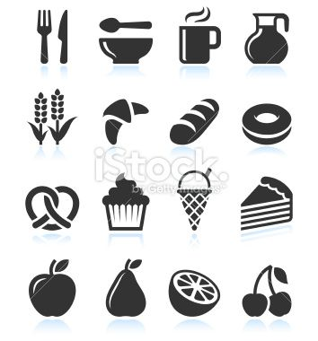 Foods with Black and White royalty free vector icon set Royalty Free Stock Vector Art Illustration