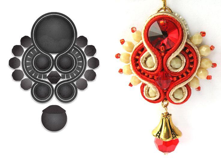 Red/Beige soutache earrings.