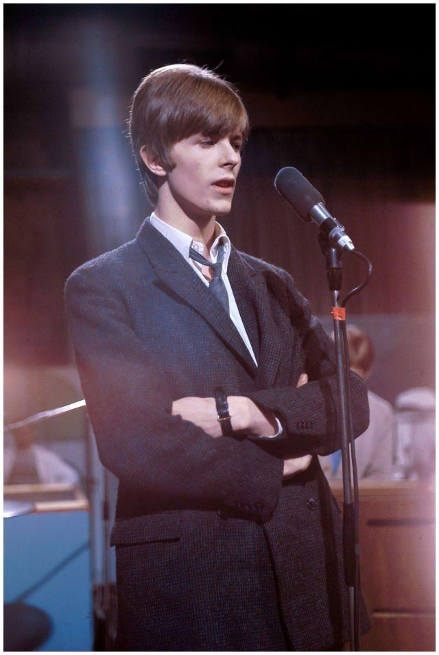 David Bowie at Wembley Studios in London with his then-band, The Buzz, performing on a television show,  March 1st 1966