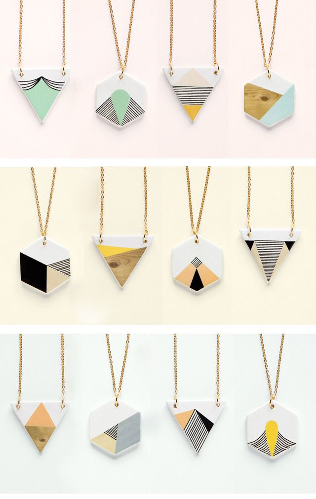 "Depeapa's ""geometry is fun"" collection of ceramic necklaces. http://pinterest.com/flowerdancer/geometrically-speaking/"