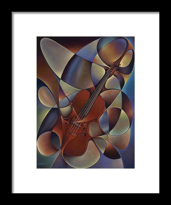 Violin Framed Print featuring the painting Dynamic Violin by Ricardo Chavez-Mendez