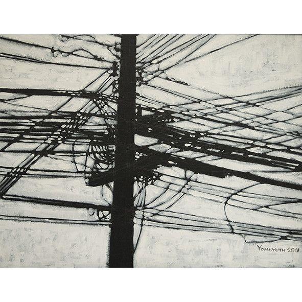 Urban Society in black&white - Original Acrylic painting on Canvas by Phuket based artist Yongyuth Ruyant. Thailand