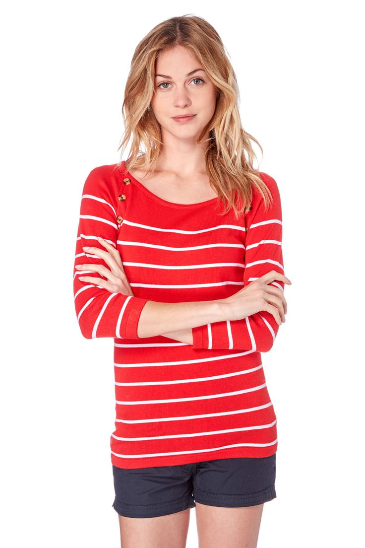 Venda Moda mulher trendy / 31007 / Emoi / Casacos de malha e casacos / Camisola às riscas Vermelho e branco