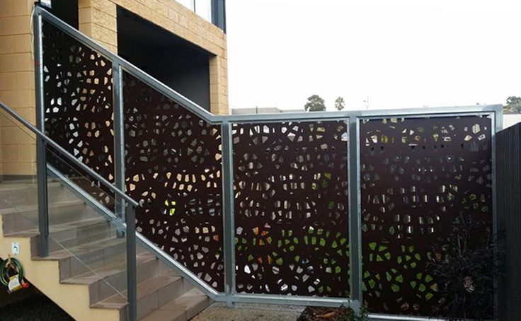 QAQ's 'Pretoria' decorative screen design is used here as stair banister privacy panels.