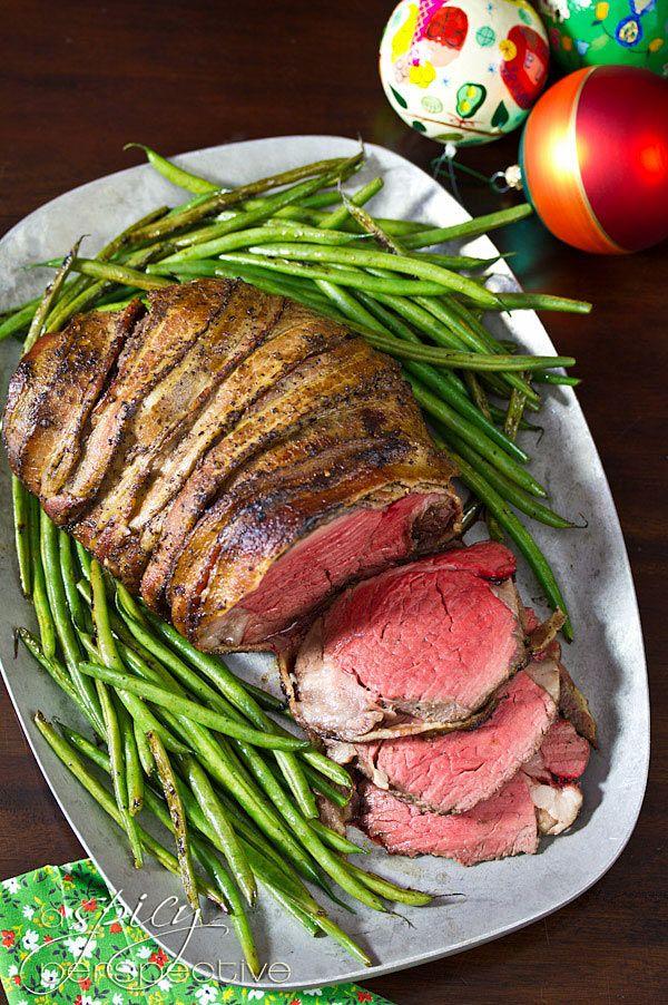 Crock-Pot Bacon Wrapped Beef Tenderloin   Balsamic Glaze via @spicyperspectiv