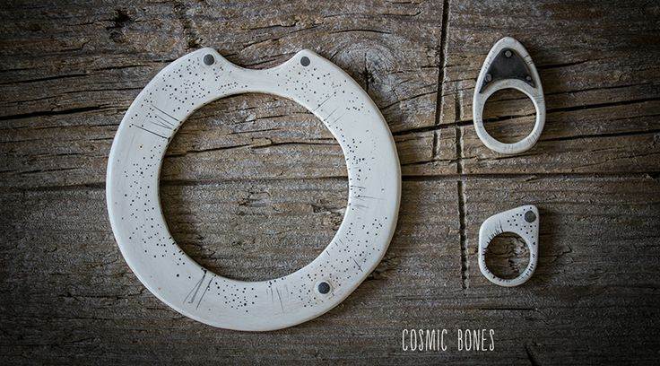 The cosmic bones ...  Primitive inspired jewelry in bone like plastic (fauxbone) aged and carved.