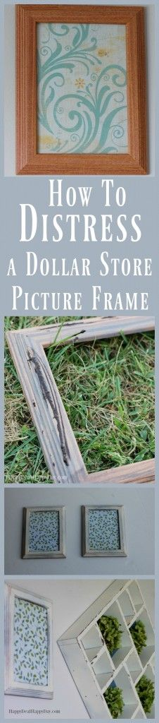 "How to distress a picture frame from the dollar tree - here is an easy way to update your frames to fit the ""fixer upper"" farmhouse style!"