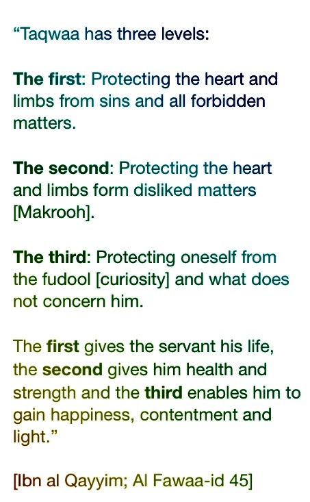 Three levels of Taqwa تقوى