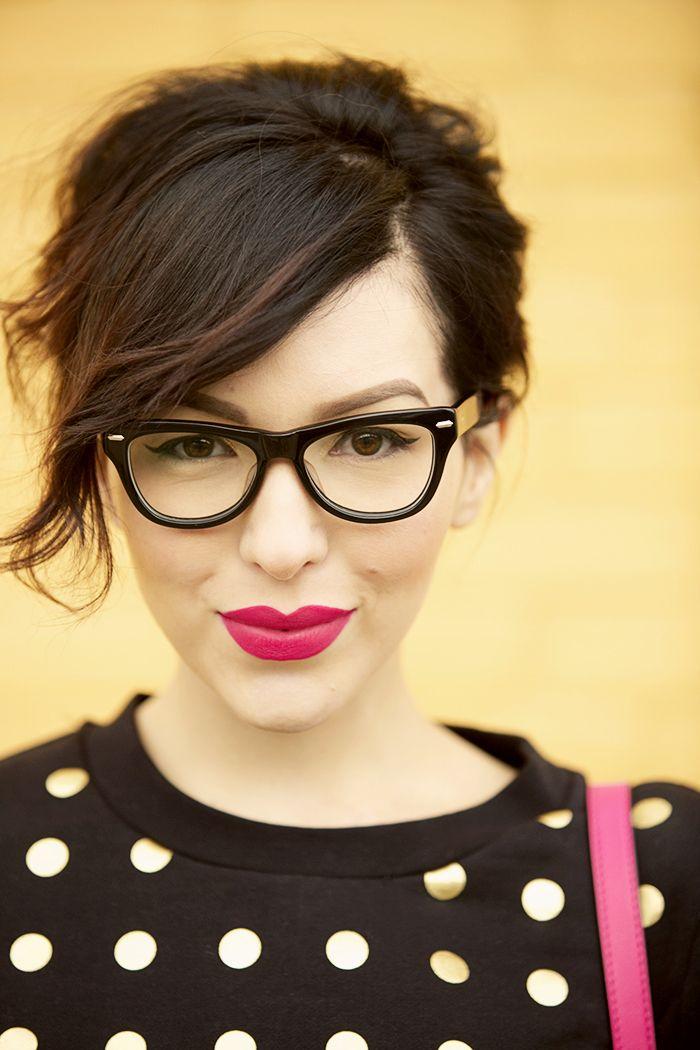 Kate Spade Saturday - polka dots, thick black glasses, bright pink lips