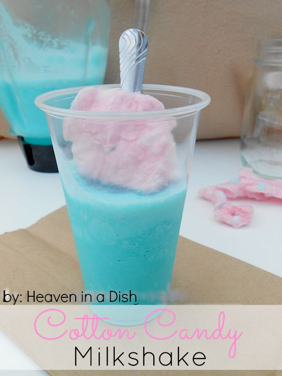 Cotton Candy Milkshake by heaveninadish.com -this is SO simple and tastes so good, perfect for a hot day! #recipe #drinks