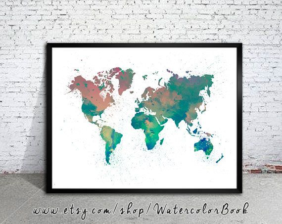 15 best art water colour world map images on pinterest world watercolor map world map watercolor painting watercolor poster handmade poster gumiabroncs Image collections